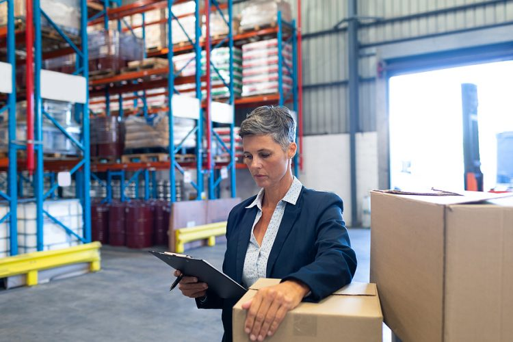 Customs brokerage specialist doing an inventory